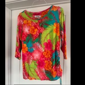 Multi-colored tropical High Fifth petite top